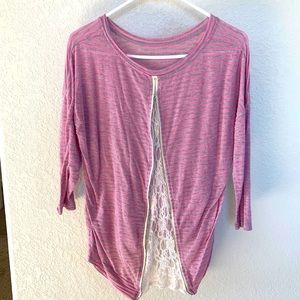 Boutique Pink/Gray Zip Lace Insert Back Top